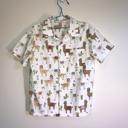 Boys Shirt:  White with Llama print - SIZE 7