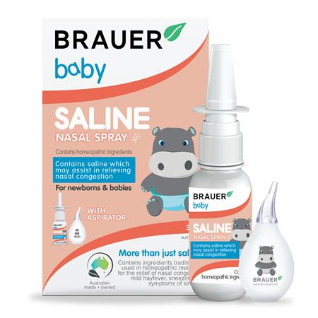 Brauer Baby Saline Nasal Spray + Aspirator 30mL