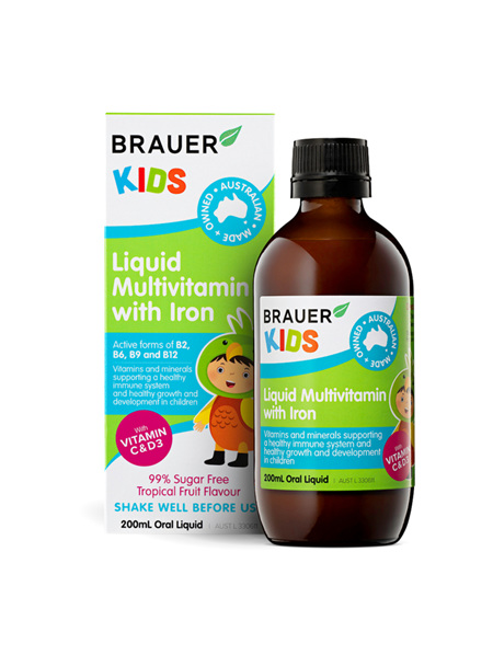 Brauer Kids Liquid Multivitamin Iron 3+ 200ml