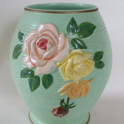 Green ribbed vase