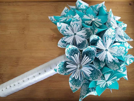 Bridal Bouquet with paper flowers