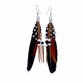 Bright Beads & Feather Earrings - BLACK