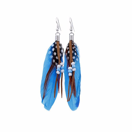 Bright Beads & Feather Earrings - BLUE