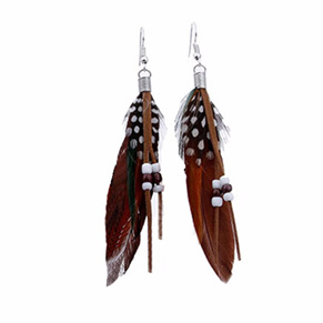Bright Beads & Feather Earrings - BROWN