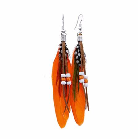 Bright Beads & Feather Earrings - ORANGE