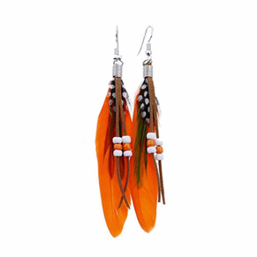 Bright Beads & Feather Earrings - ORANGE