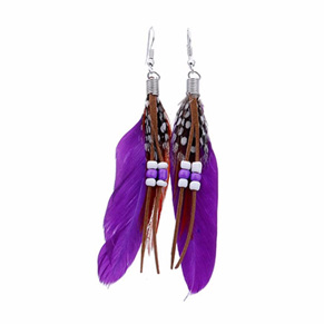 Bright Beads & Feather Earrings - PURPLE