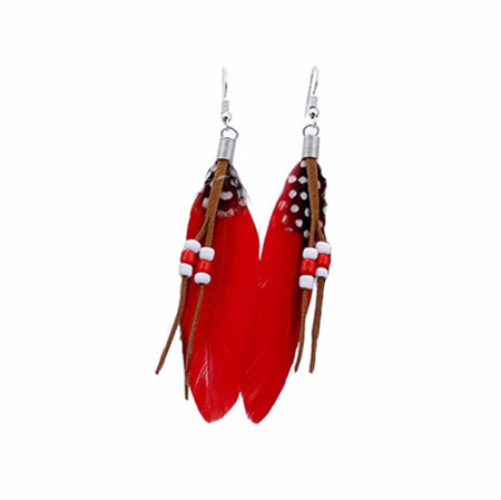 Bright Beads & Feather Earrings - RED