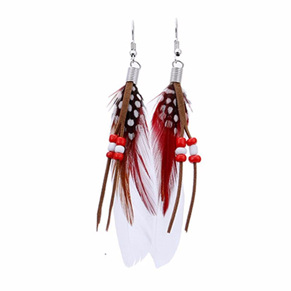 Bright Beads & Feather Earrings - WHITE
