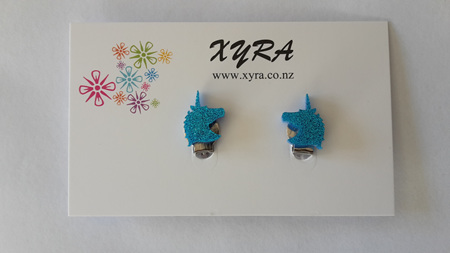 Bright Blue Unicorn Clip-on Earrings