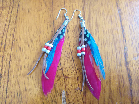 Bright Feather & Beads Earrings - RED & BLUE