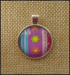 Bright Flowers Glass Dome Key Ring