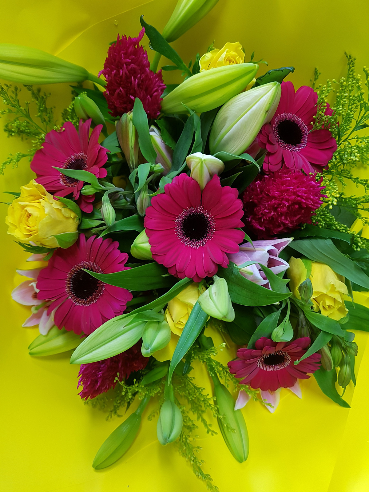 Bright Pink And Yellow Bouquet Bloomers Flower Shop