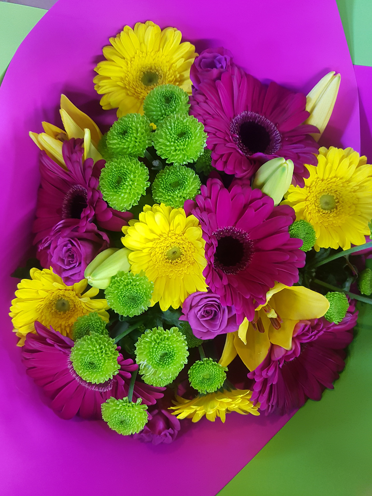 Bright Pink And Yellow Bouquet Bloomers