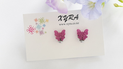 Bright Pink Butterfly Clip-on Earrings