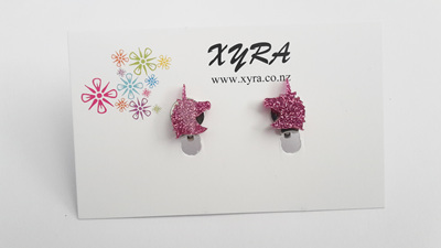 Bright Pink Unicorn Clip-On Earrings