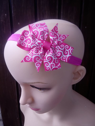 Bright Pink With White Patterns Hair Band