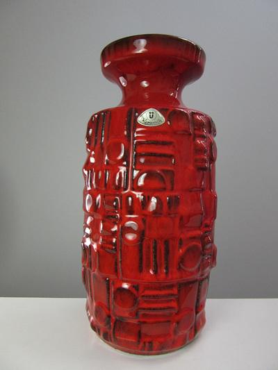 Bright Red Vintage Uebelacker West German Pottery Vase