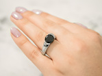 Brilliant cut black diamond Stellad ring in platinum
