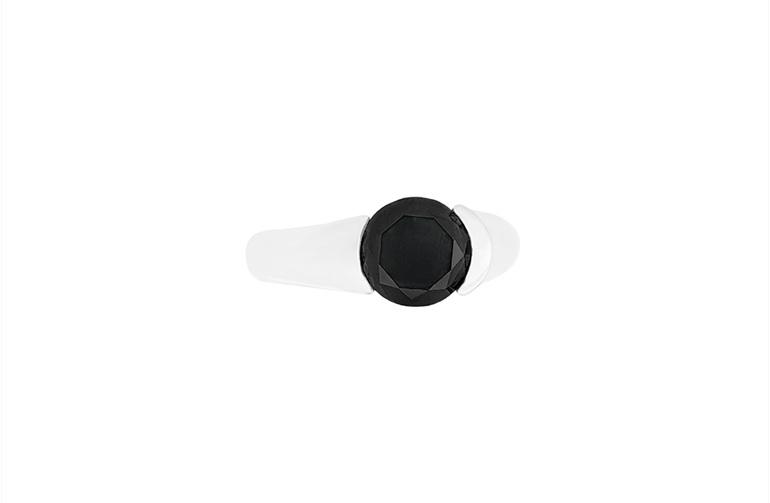 Brilliant cut black diamond Stellad ring in platinum