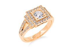 Brilliant Cut Diamond Cluster Engagement Ring