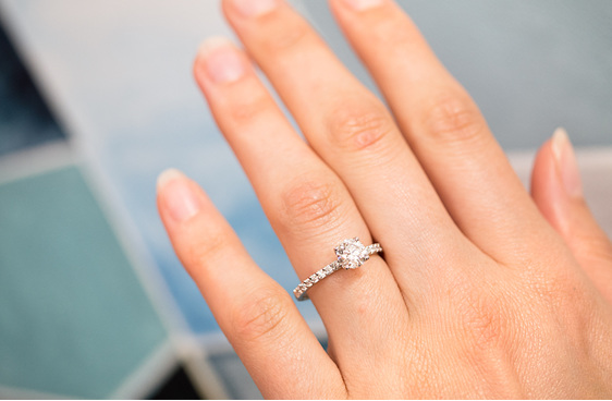 brilliant cut diamond engagement ring delicate diamond band