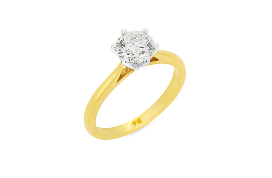 Brilliant Cut Diamond Engagement Ring in 18ct Yellow Gold