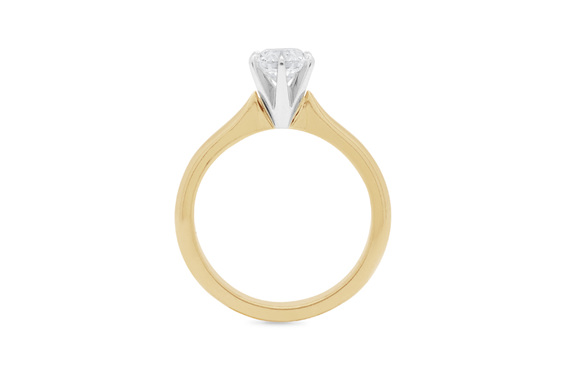 Brilliant Cut solitaire diamond engagement ring, yellow gold, white gold, rose