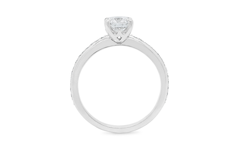 brilliant cut with bead set shoulders, 18ct white gold, platinum, solitaire