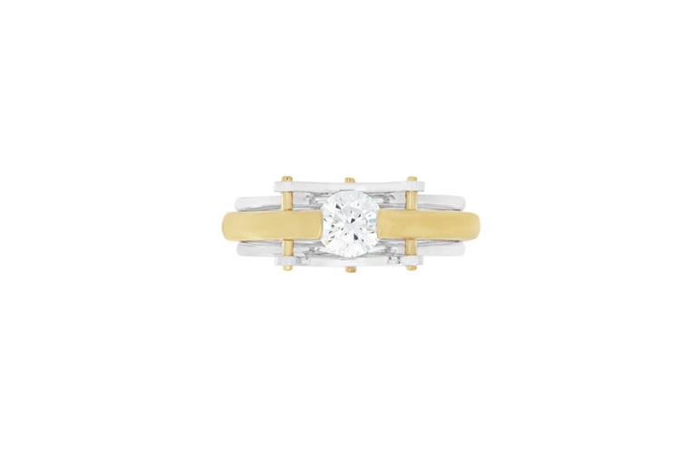 Brilliant Diamond Two-Tone Modern Contemporary Ring - Circlipd Evo