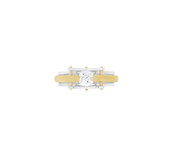 Brilliant Diamond Two-Tone Modern Contemporary Ring - Circlipd Evo