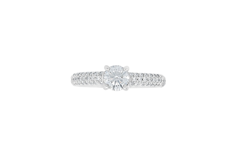 Brilliant diamond with pave set diamond shoulders solitaire engagement ring