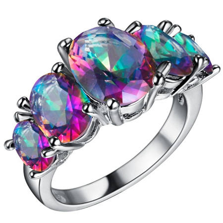BRILLIANT RAINBOW AND SILVER RING - US9