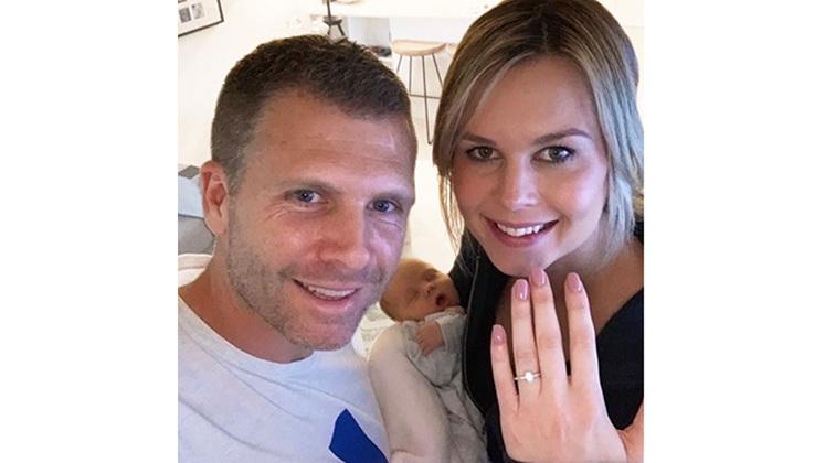 Brisbane roar coach Darren, Niamh and baby, newly engaged