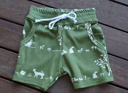 'Brodie' Shorts with pockets, elastic waist & faux tie, 'Forest Friends' GOTS Organic Cotton, 2yrs