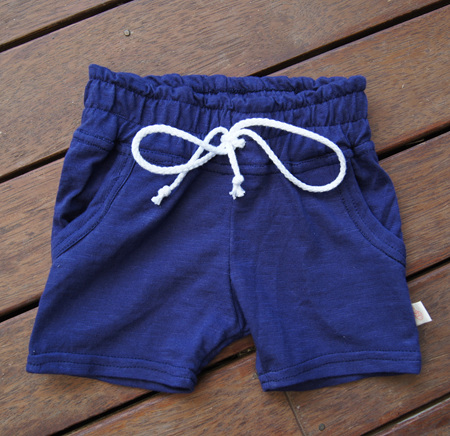 'Brodie' Shorts with pockets, 'Patriot Blue' 100% Cotton Knit, 2 years