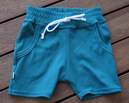 'Brodie' Shorts with pockets, 'Teal' GOTS Organic Cotton Knit, 2 years