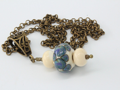 Bronze necklace - Silvered glass on ivory