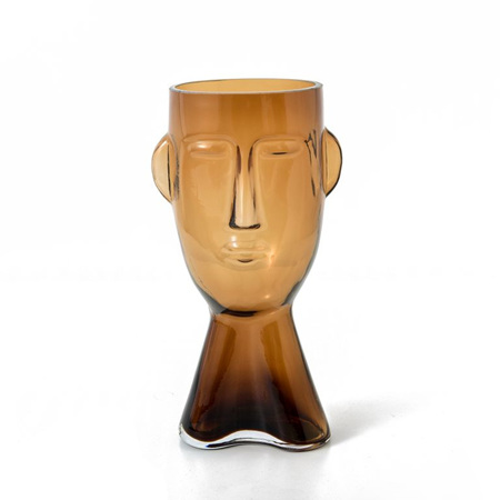 Brook Glass Face Vase AMBER Small