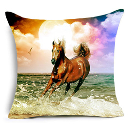 BROWN BEAUTY HORSE ON SUNSET LIT BEACH CUSHION COVER