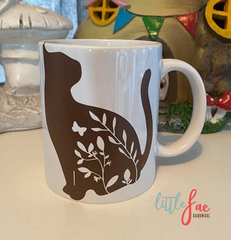Brown Floral Cat Mug