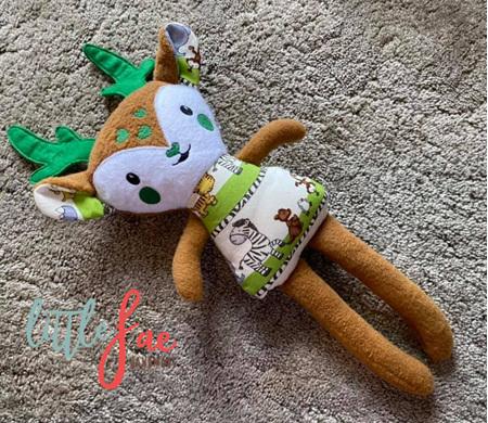 Brown & Green Reindeer Soft Toy