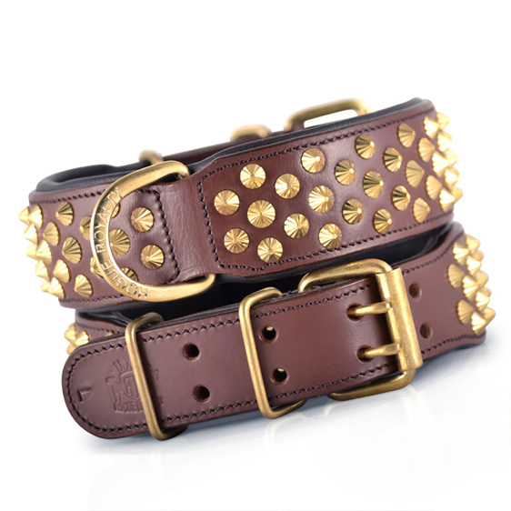 Brown Leather and BrasStudded Leather Dog Collar for Large Dogs by Rogue Royalty