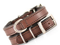 Brown leather dog collar by Rogue Royalt