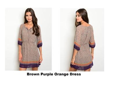 Brown Purple Orange Dress