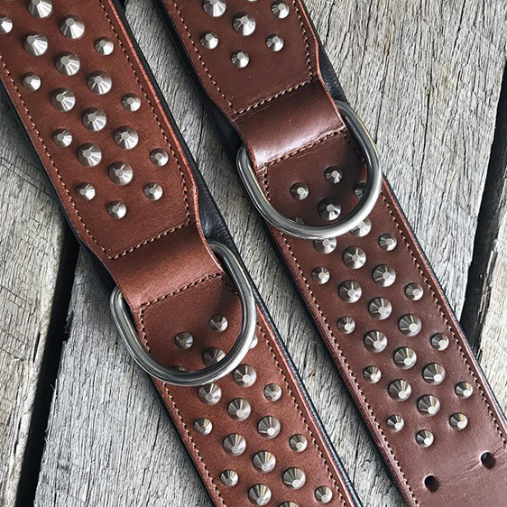 Brown Studded Leather Dog Collar for Large Dogs by Rogue Royalty