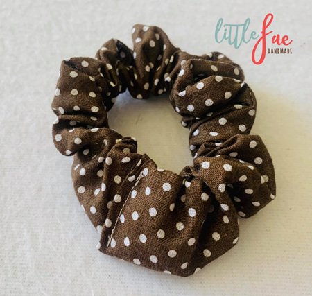 Brown & White Polka Dot Scrunchie