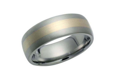 Brushed Titanium and Yellow Gold Ring