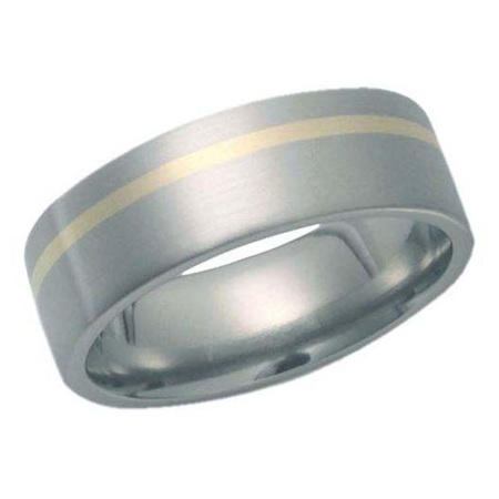 Brushed Titanium Ring with Offset Yellow Gold Inlay