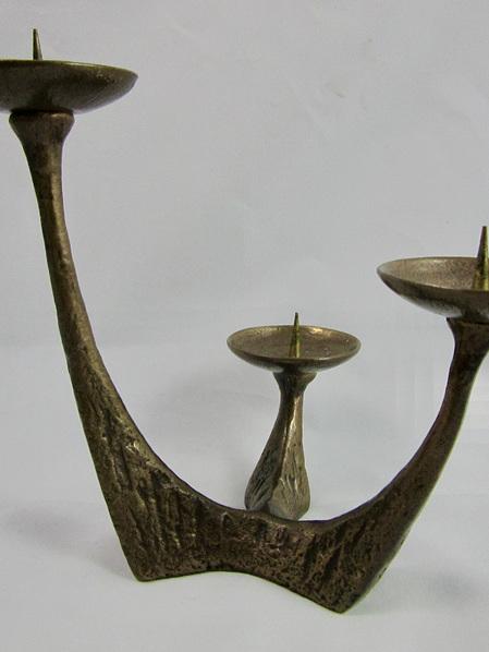 Brutalist Vintage Bronze 3 Candle Candelabra